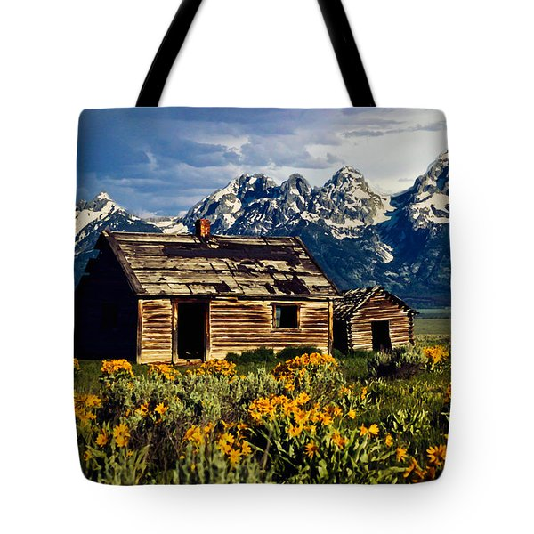 Tote Bag featuring the photograph Grand Tetons Cabin by John Haldane