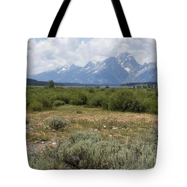 Tote Bag featuring the photograph Grand Tetons From Willow Flats by Belinda Greb