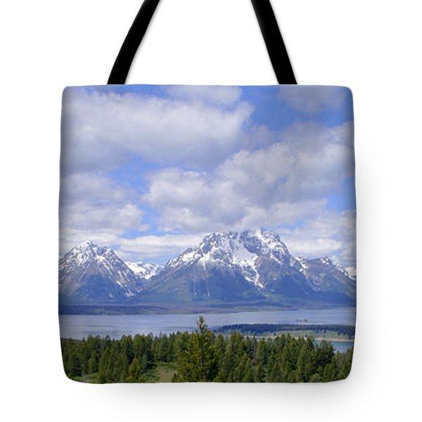 Grand Tetons Over Jackson Lake Panorama 2 Tote Bag by Brian Harig