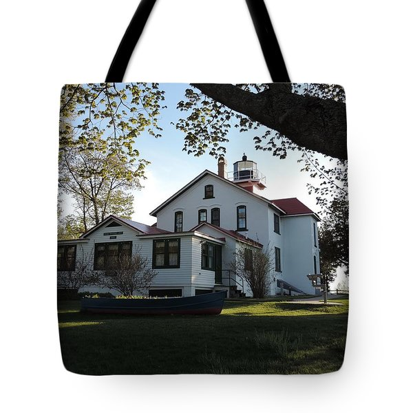Grand Traverse Lighthouse Tote Bag by Keith Stokes