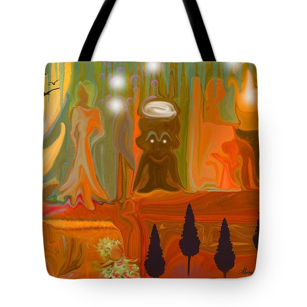 Tote Bag featuring the painting Grandpas House For His Little Peeps by Sherri  Of Palm Springs