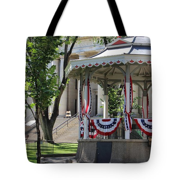 Tote Bag featuring the photograph Grandstand Patriotism  by Natalie Ortiz