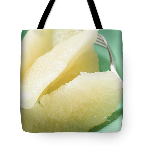 Grapefruit Segments On Plate With Fork Tote Bag