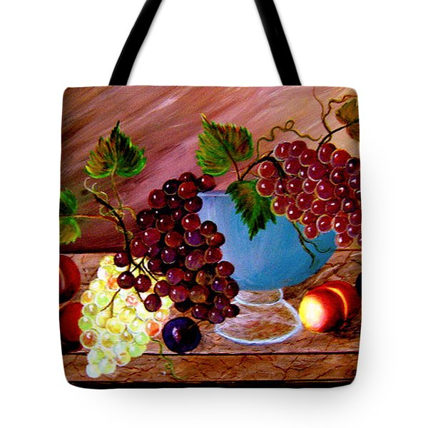 Tote Bag featuring the painting Grapefully Your's by Fram Cama