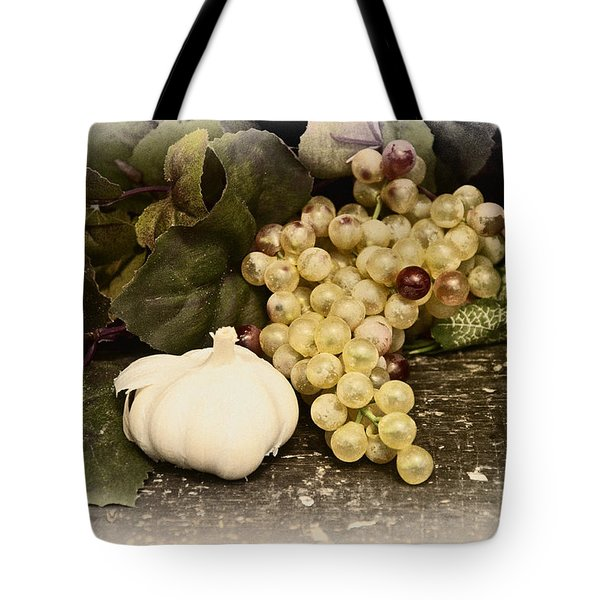 Grapes And Garlic Tote Bag by Bill Cannon