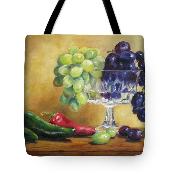 Grapes And Jalapenos Tote Bag by Lori Brackett