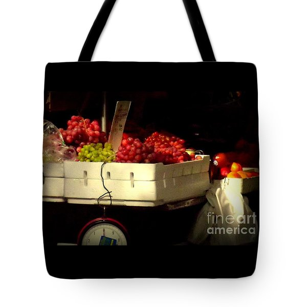 Grapes With Weighing Scale Tote Bag by Miriam Danar