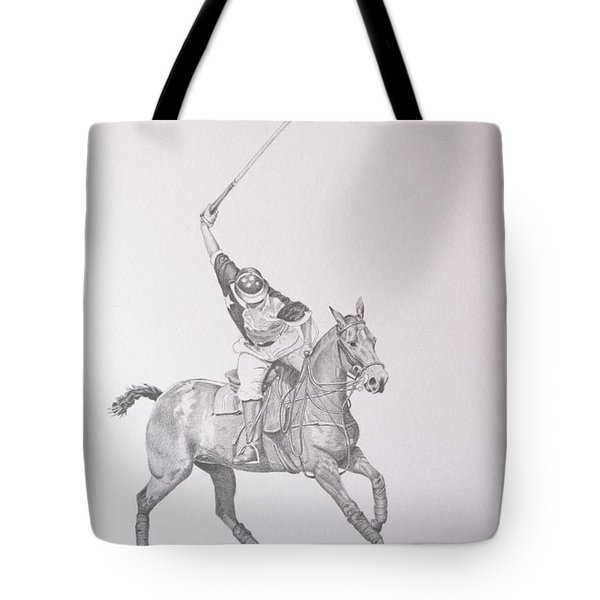 Graphite Drawing - Shooting For The Polo Goal Tote Bag