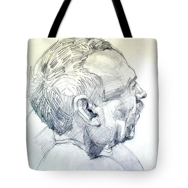 Tote Bag featuring the drawing Graphite Portrait Sketch Of A Man In Profile by Greta Corens