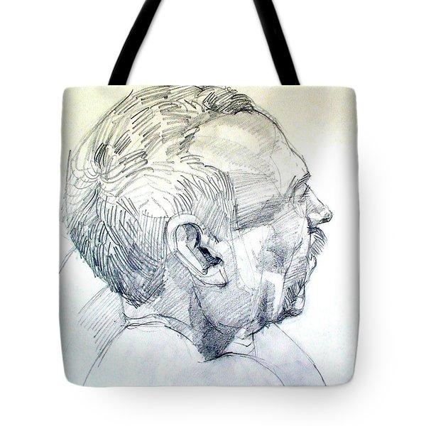 Graphite Portrait Sketch Of A Man In Profile Tote Bag