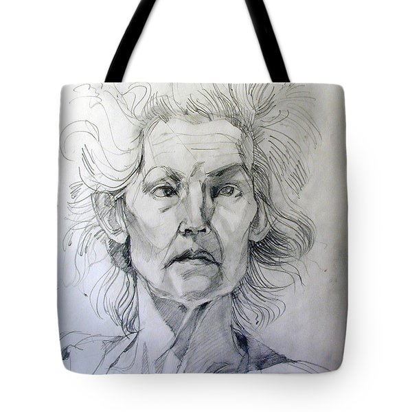 Tote Bag featuring the drawing Graphite Portrait Sketch Of A Well Known Cross Eyed Model by Greta Corens