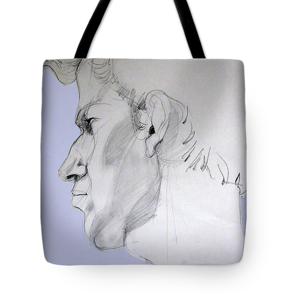 Tote Bag featuring the drawing Graphite Portrait Sketch Of A Young Man In Profile by Greta Corens