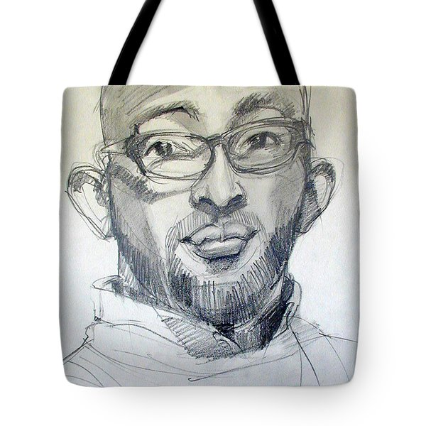 Tote Bag featuring the drawing Graphite Portrait Sketch Of A Young Man With Glasses by Greta Corens
