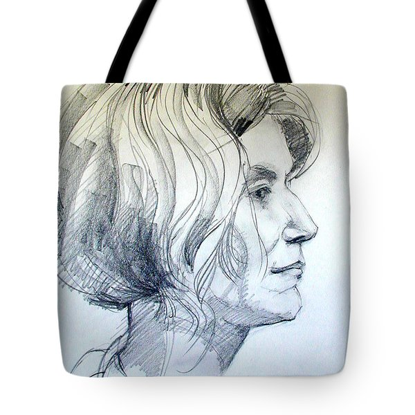 Portrait Drawing Of A Woman In Profile Tote Bag