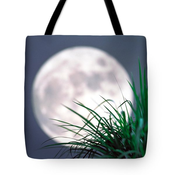 Grass Blades With Full Moon Tote Bag