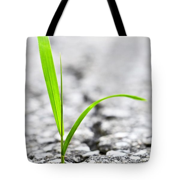 Grass In Asphalt Tote Bag