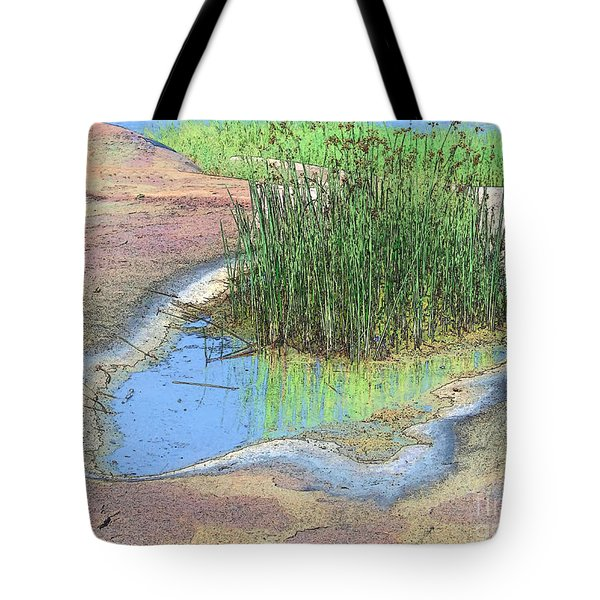 Grass Growing On Rocks Tote Bag