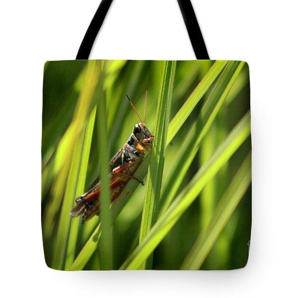 Grasshopper In Grass Tote Bag