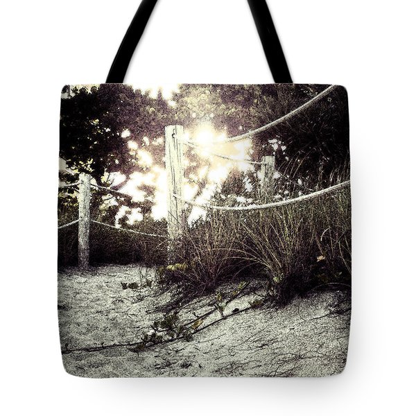 Grassy Beach Post Entrance At Sunset 2 Tote Bag