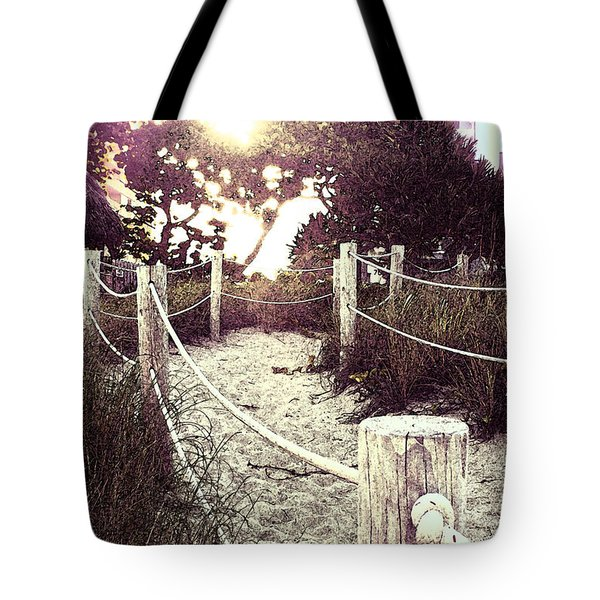 Grassy Beach Post Entrance At Sunset Tote Bag