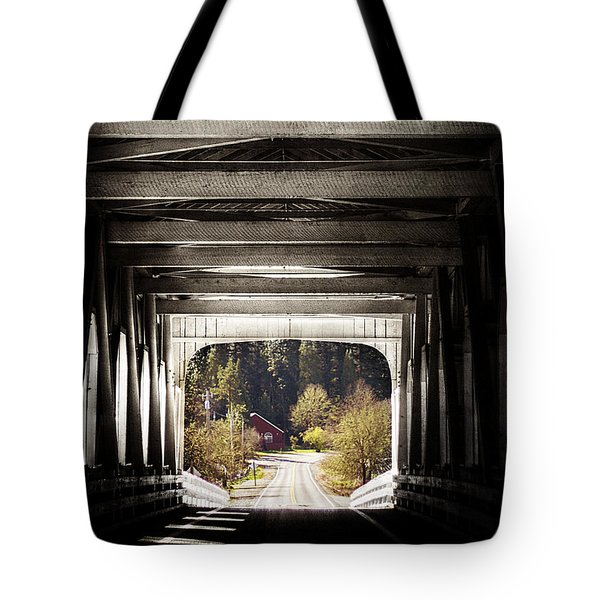 Grave Creek Covered Bridge Tote Bag by Melanie Lankford Photography