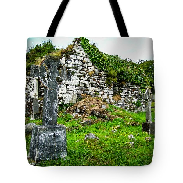 Graveyard And Church Ruins On Ireland's Mizen Peninsula Tote Bag