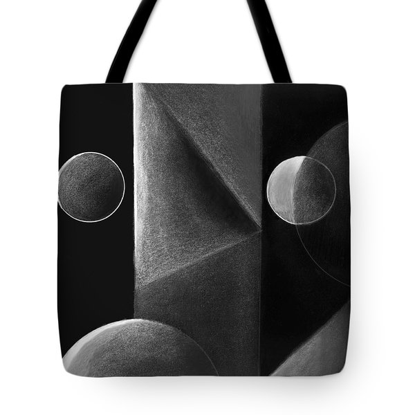 Gray And Black Abstract 3 Tote Bag by Mary Bedy
