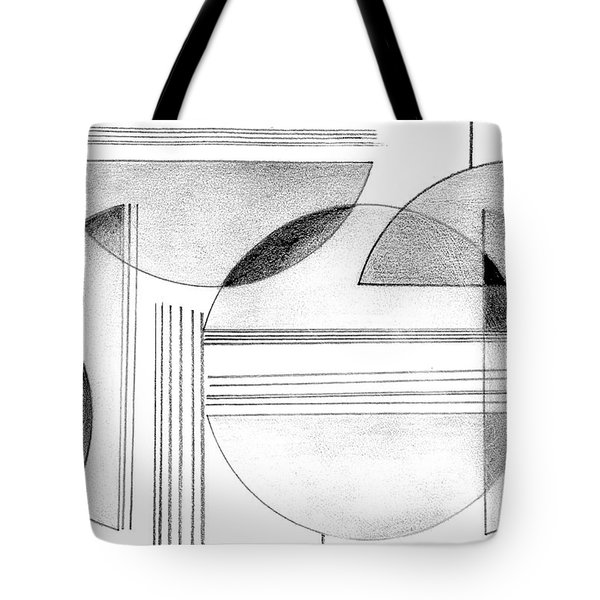 Tote Bag featuring the drawing Gray And Black Abstract by Mary Bedy