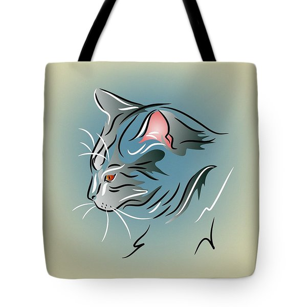 Tote Bag featuring the digital art Gray Cat In Profile by MM Anderson