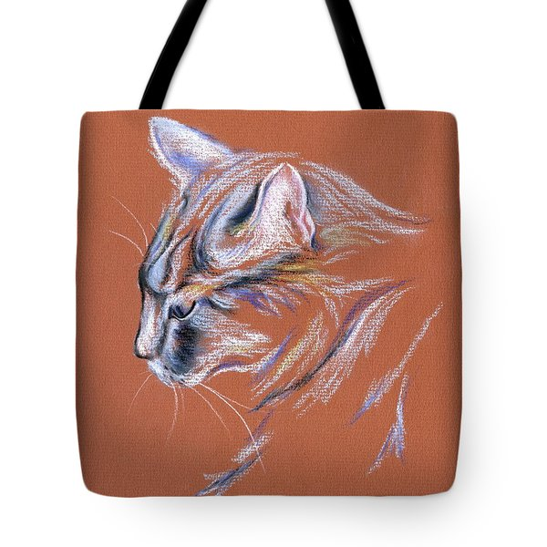 Tote Bag featuring the pastel Gray Cat In Profile - Pastel by MM Anderson