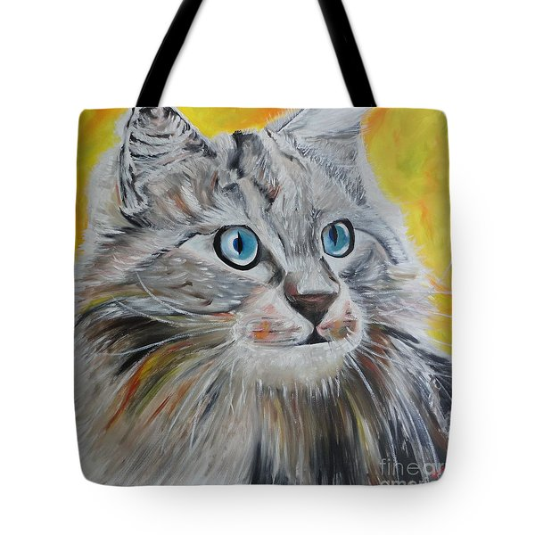 Tote Bag featuring the painting Gray Cat by PainterArtist FIN