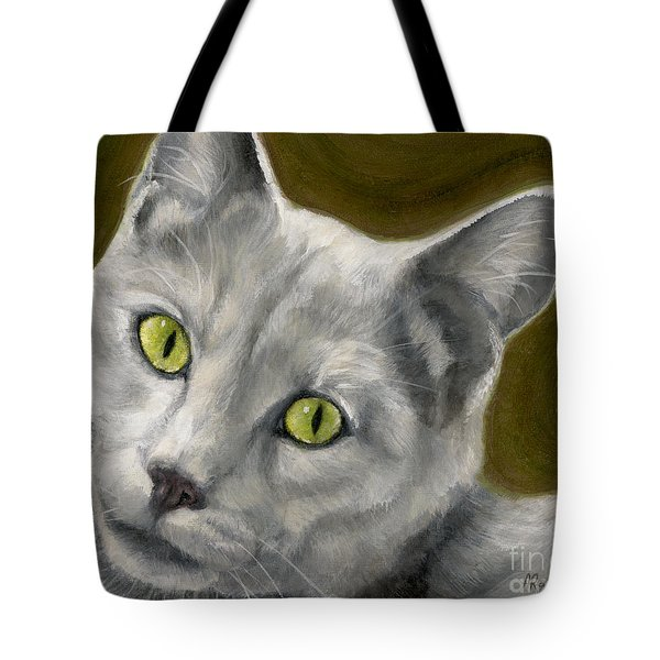 Gray Cat With Green Eyes Tote Bag by Amy Reges