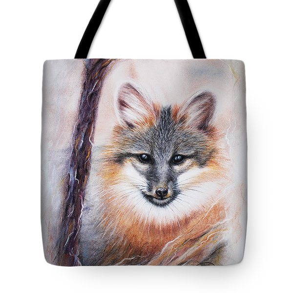 Tote Bag featuring the drawing Gray Fox by Patricia Lintner
