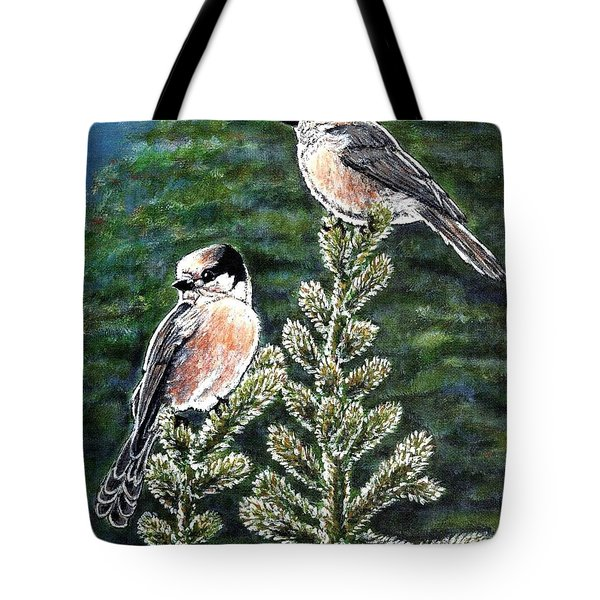 Tote Bag featuring the painting Gray Jays by VLee Watson