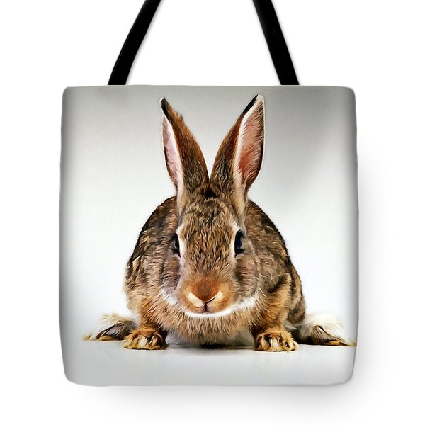 Gray Rabbit Bunny  Tote Bag by Lanjee Chee