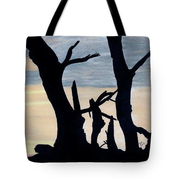 Tote Bag featuring the drawing Gray Sunset by D Hackett