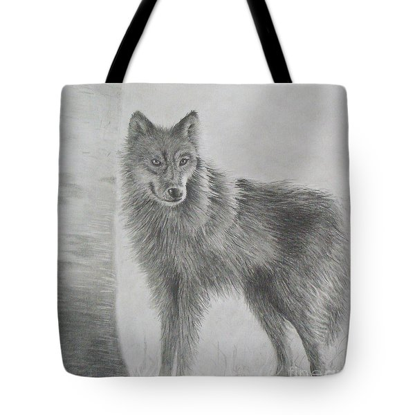 Tote Bag featuring the drawing Gray Wolf by Phyllis Howard