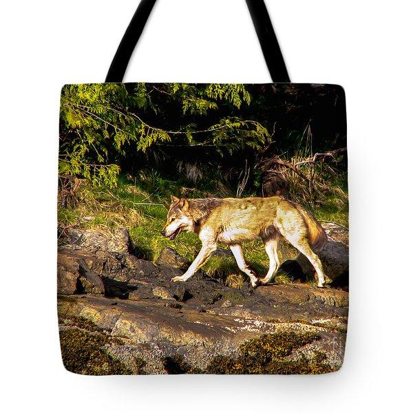 Gray Wolf Tote Bag by Robert Bales