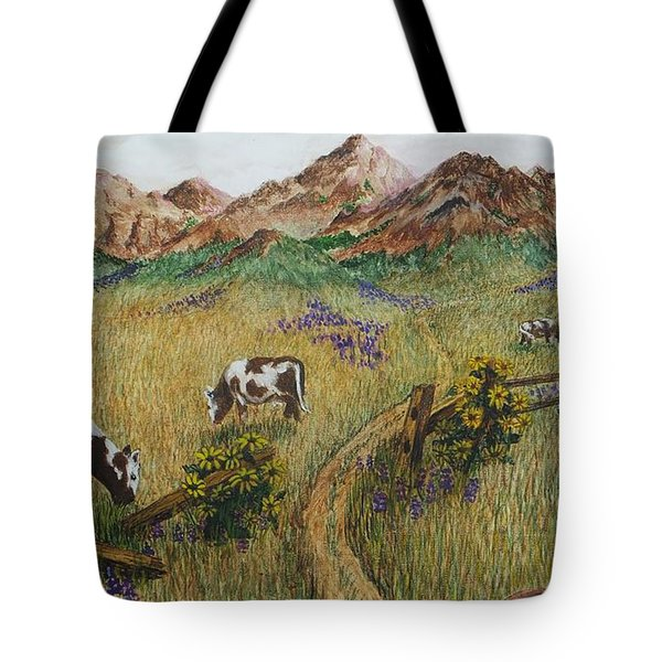 Grazing Cows Tote Bag by Katherine Young-Beck
