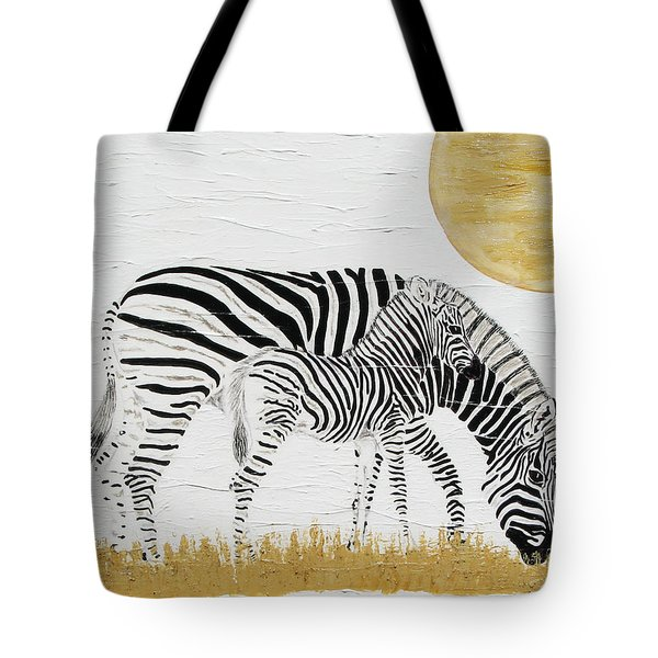 Tote Bag featuring the painting Grazing Together by Stephanie Grant