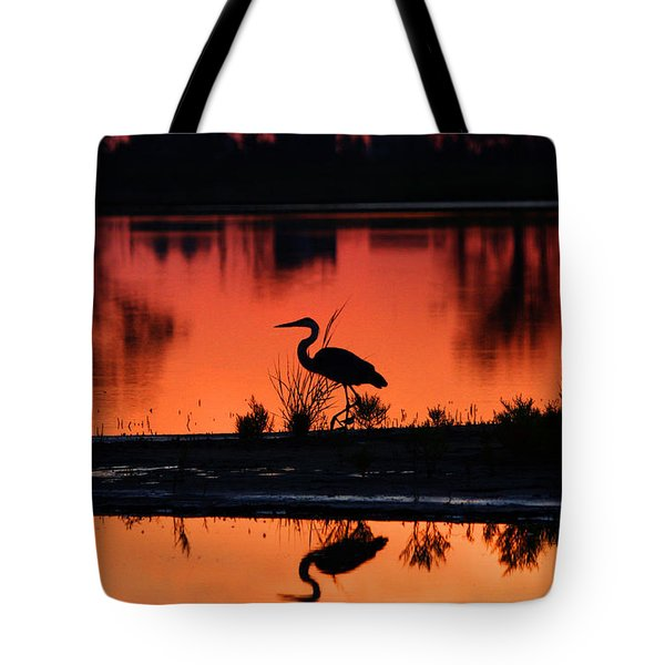Great Blue Heron At Sunrise Tote Bag by Allan Levin