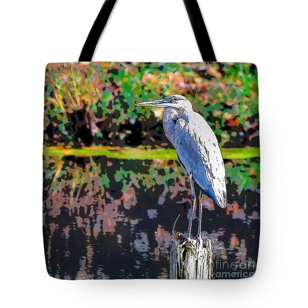 Great Blue Heron At The Pond Tote Bag