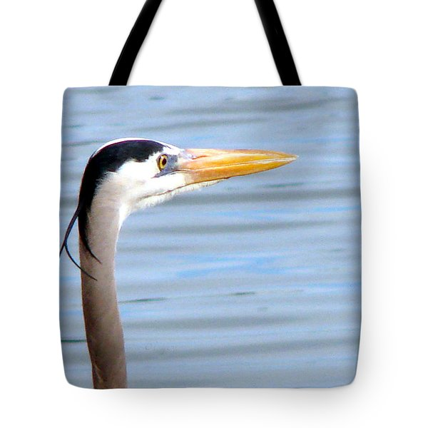 Tote Bag featuring the photograph Great Blue Heron Breeding Profile by Linda Cox