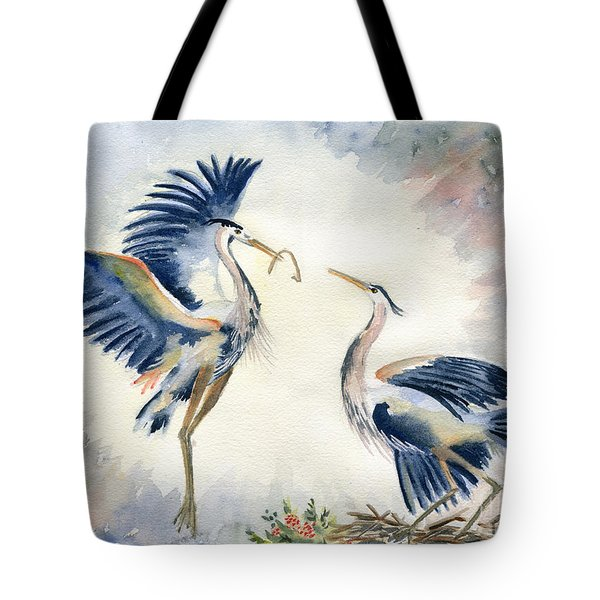 Great Blue Heron Couple Tote Bag by Melly Terpening