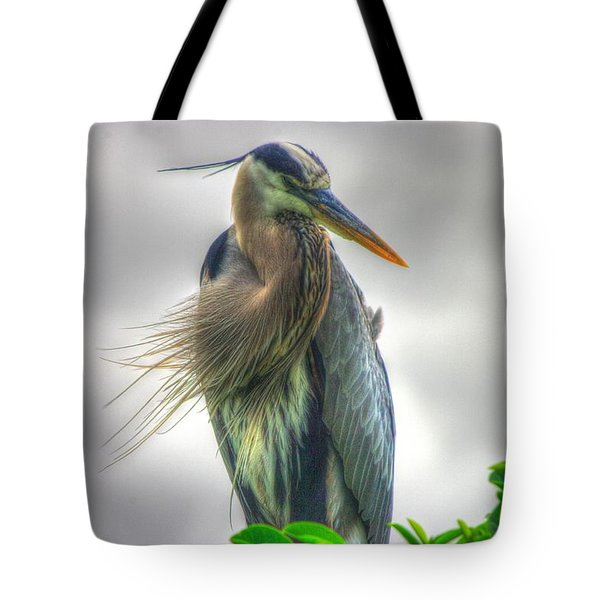 Great Blue Heron Tote Bag by Dennis Baswell
