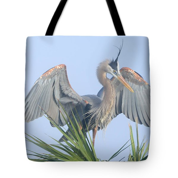 Great Blue Heron Displaying Tote Bag