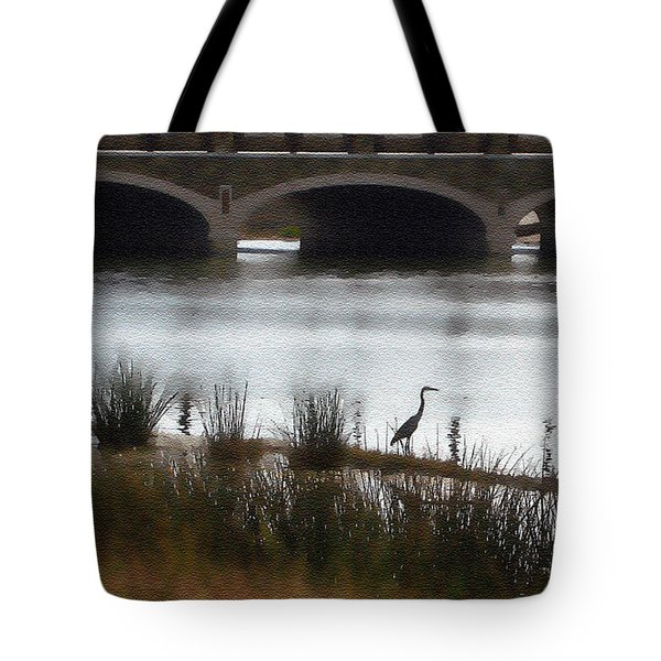 Tote Bag featuring the photograph Great Blue Heron by Ellen Tully
