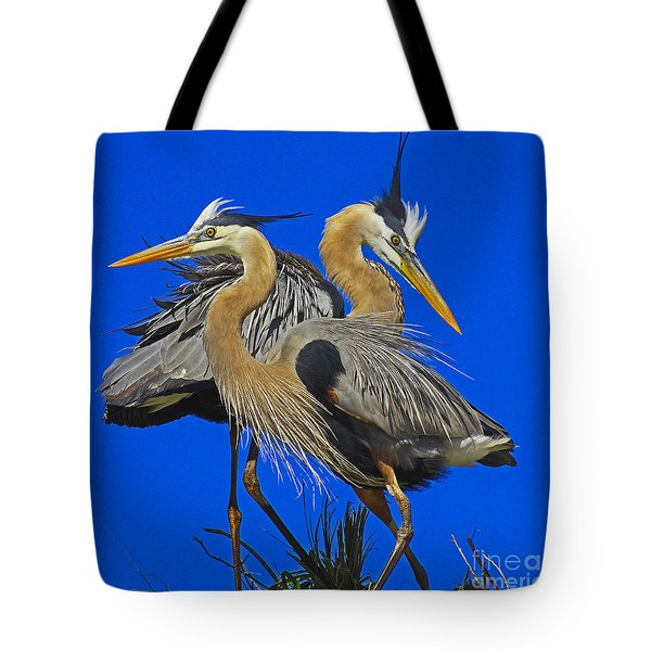 Great Blue Heron Family Tote Bag by Larry Nieland