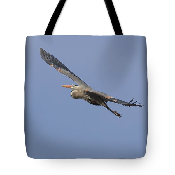 Great Blue Heron In Flight-2 Tote Bag