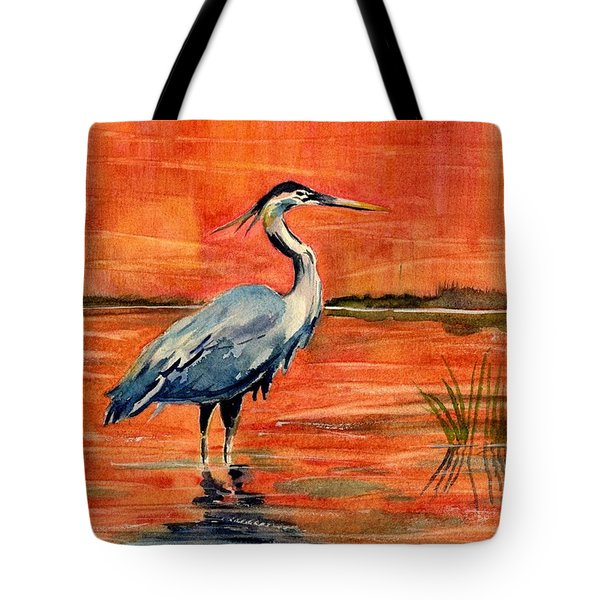 Great Blue Heron In Marsh Tote Bag